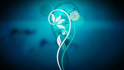 3D growing flower animation with blue background