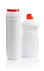 two white bottles for clean