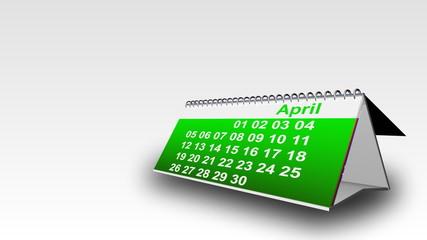 3d calendar showing months