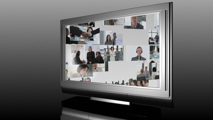 3d television showing business meetings