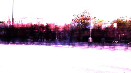 Abstract shot of Crowds of People moving Fast