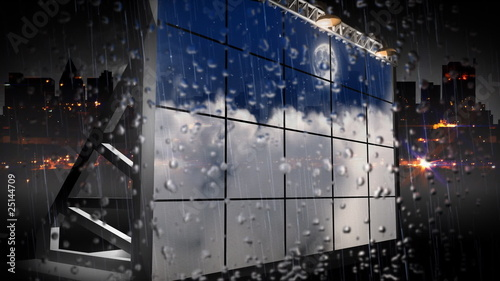 3d billboard with rain buildings in the background