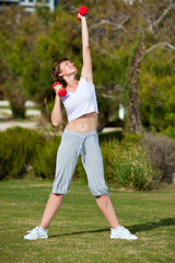 dumbell exercise outdoors