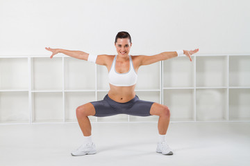 pretty fitness woman stretching