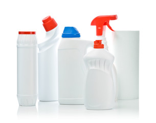 big composition of cleaning bottles