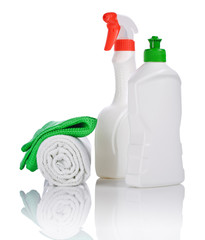 bottle and spray with kitchen towels