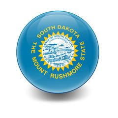 Esfera brillante con bandera Dakota del Sur