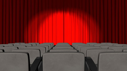 3d Curtains opening in a cinema