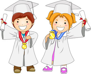 Children Graduates With Medal
