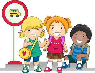 Children Waiting For School Bus