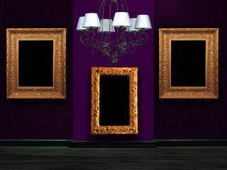 Empty wall with luxury chandelier
