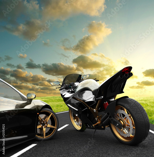 Fotobehang Motorfiets bolidi su strada