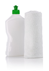 small bottle and cotton towel