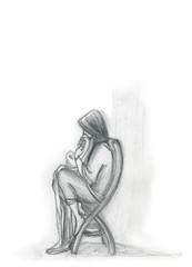Ragazza riflessiva seduta su una sedia