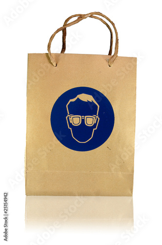 safety glasses paper bag