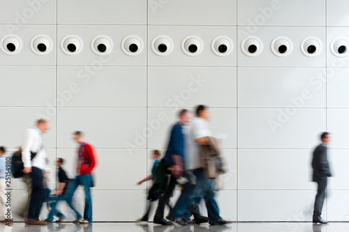 walkway with blurred people