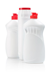 three white bottle for cleaning
