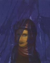Ragazza araba nascosta dietro tenda blu: dipinto