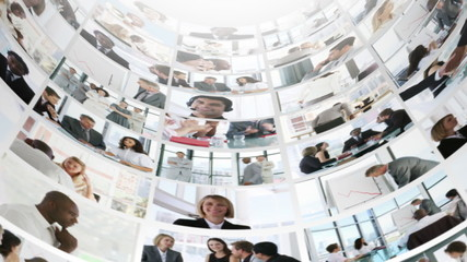 tower in motion showing business footage