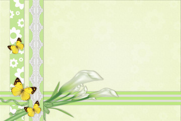 Three calla lilies background