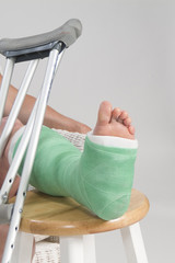 Woman with broken ankle and crutches'
