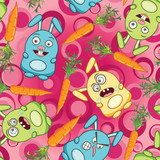 psychedelic rabbits and carrots poster
