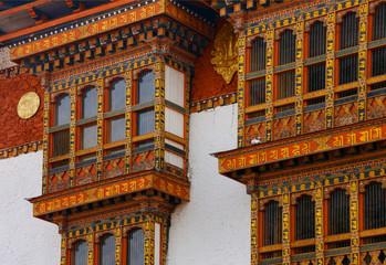 Fassade der Klosterburg Punakha Dzong, Bhutan