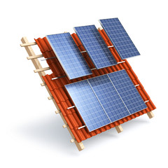 Solar roof panels construction