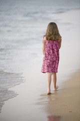Girl Walking On Beach, Maui, Hawaii, Usa