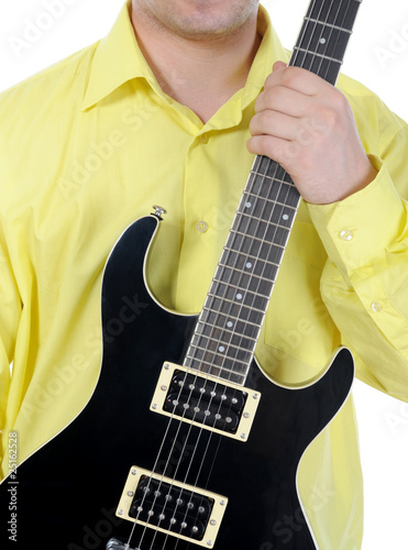 man with black guitar.