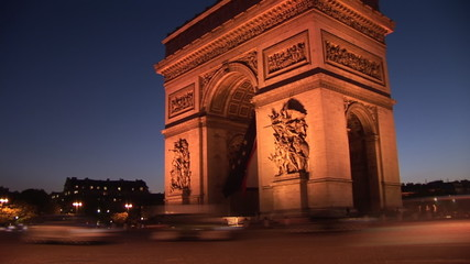 arc de triomph with abstract time-lapse of cars moving