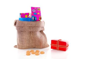 A jute bag of Sinterklaas full of gifts for the Dutch five decem