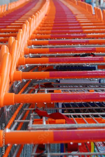 Caddies orange rangés au soleil