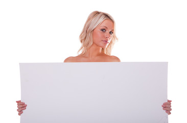 sexy girl holding a billboard