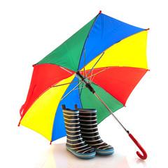 Boots and umbrella