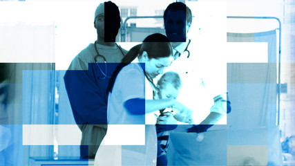 blue animation showing hospital members and patients