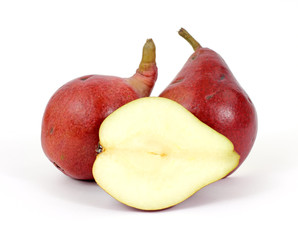 Red pears cut