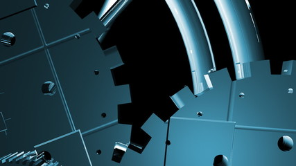 wheels and gears mecanism 3D animation