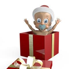 Adorabile bimbo con in un pacco regalo