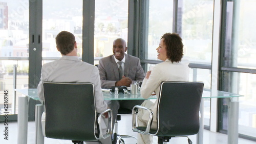 businessman with two clients during meeting