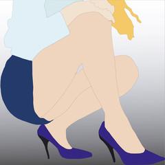 Donna bionda in minigonna