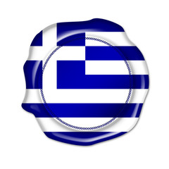 greece button, seal, stamp