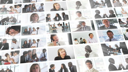 Collage of business people working in office