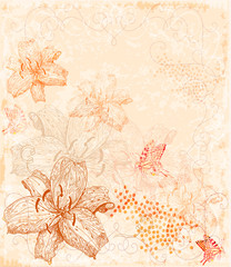 sepia floral background with butterflies