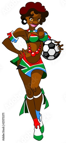 African woman with a ball - football fan.