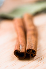 two cinnamon sticks