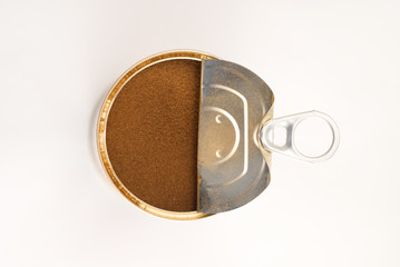 coffee beans in iron jar