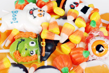 closeup assorted halloween candy