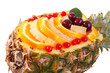 Fruit salad in Pineapple closeup