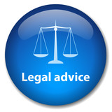 LEGAL ADVICE Web Button (scales of justice law trial rights) poster
